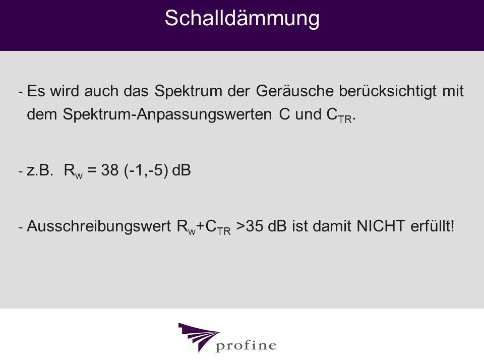 Schalldämmung Es wird auch das Spektrum der Geräusche berücksichtigt mit dem Spektrum-Anpassungswerten C und CTR.