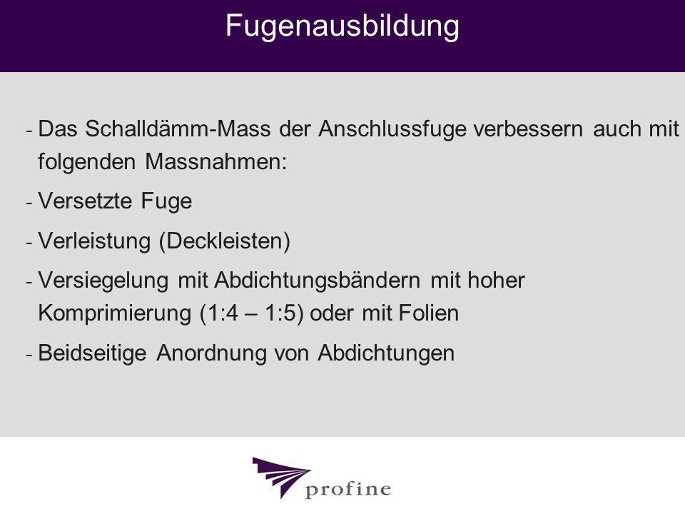 Fugenausbildung Das Schalldämm-Mass der Anschlussfuge verbessern auch mit folgenden Massnahmen: Versetzte Fuge.