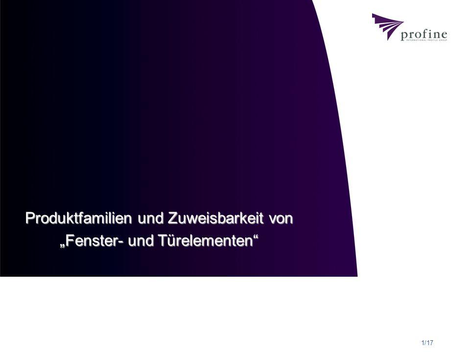 """Produktfamilien und Zuweisbarkeit von """"Fenster- und Türelementen"""