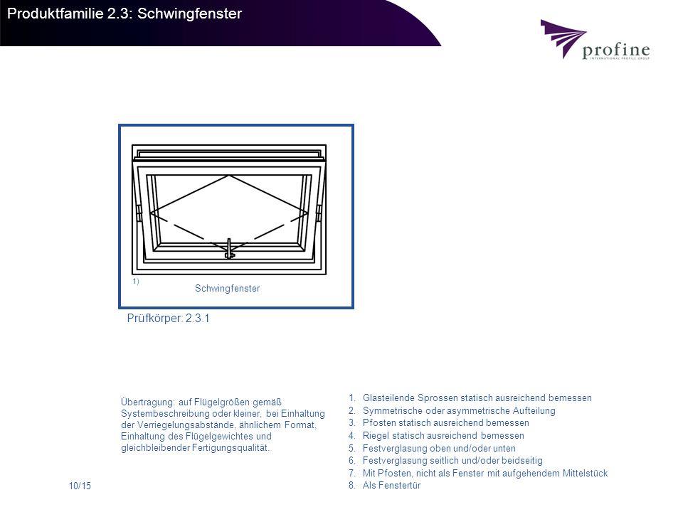 Produktfamilie 2.3: Schwingfenster