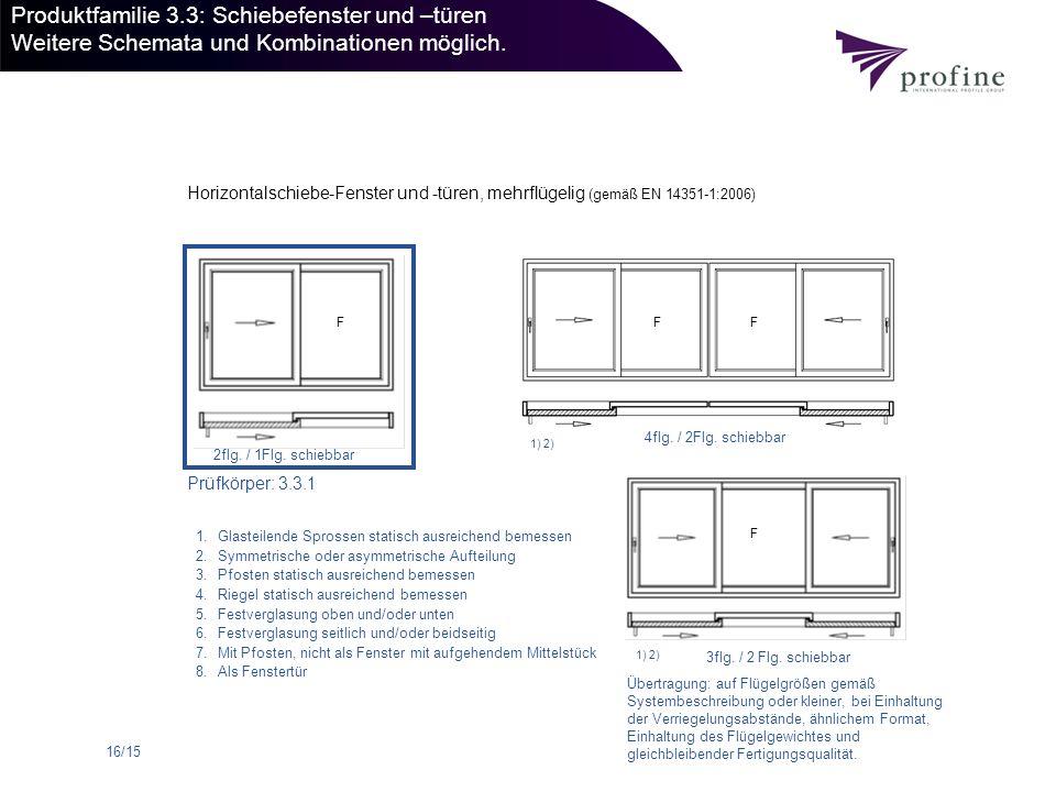 Produktfamilie 3.3: Schiebefenster und –türen