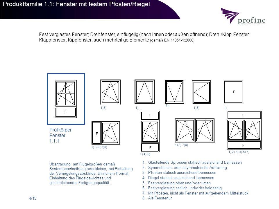 Produktfamilie 1.1: Fenster mit festem Pfosten/Riegel