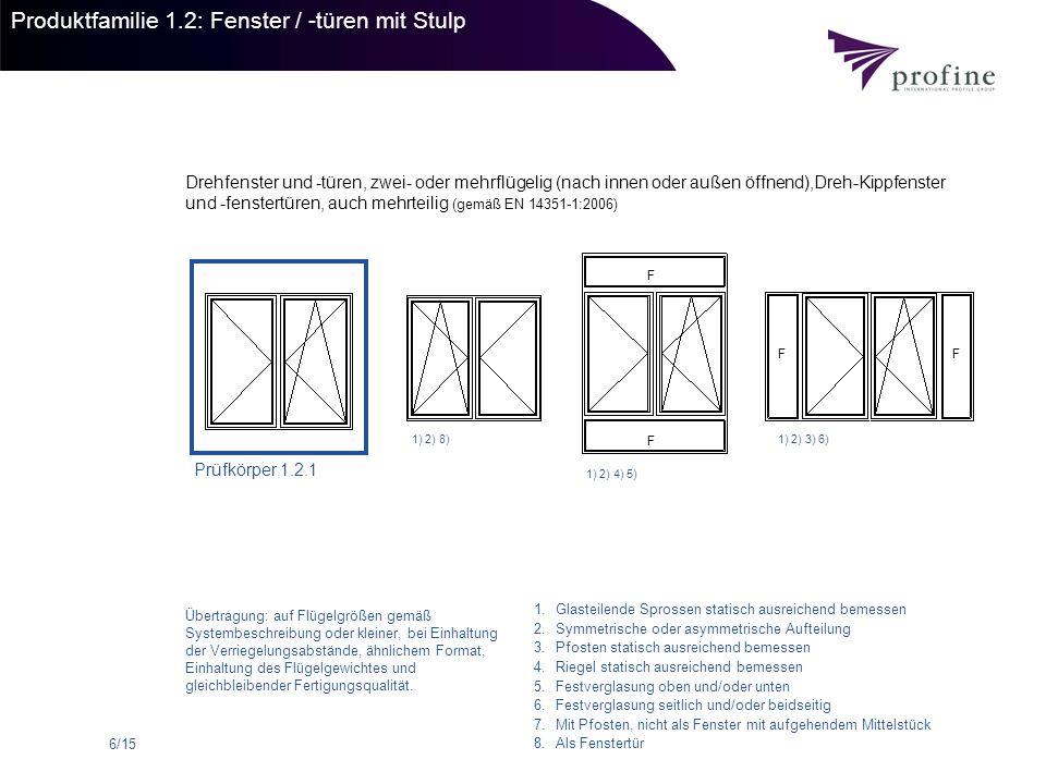 Produktfamilie 1.2: Fenster / -türen mit Stulp