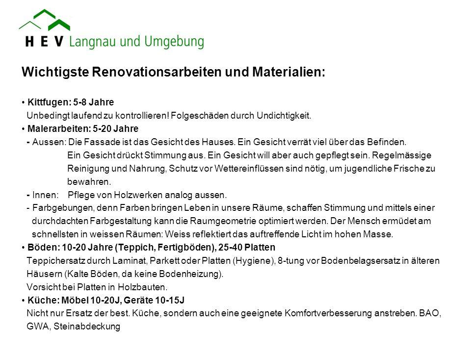 Wichtigste Renovationsarbeiten und Materialien: