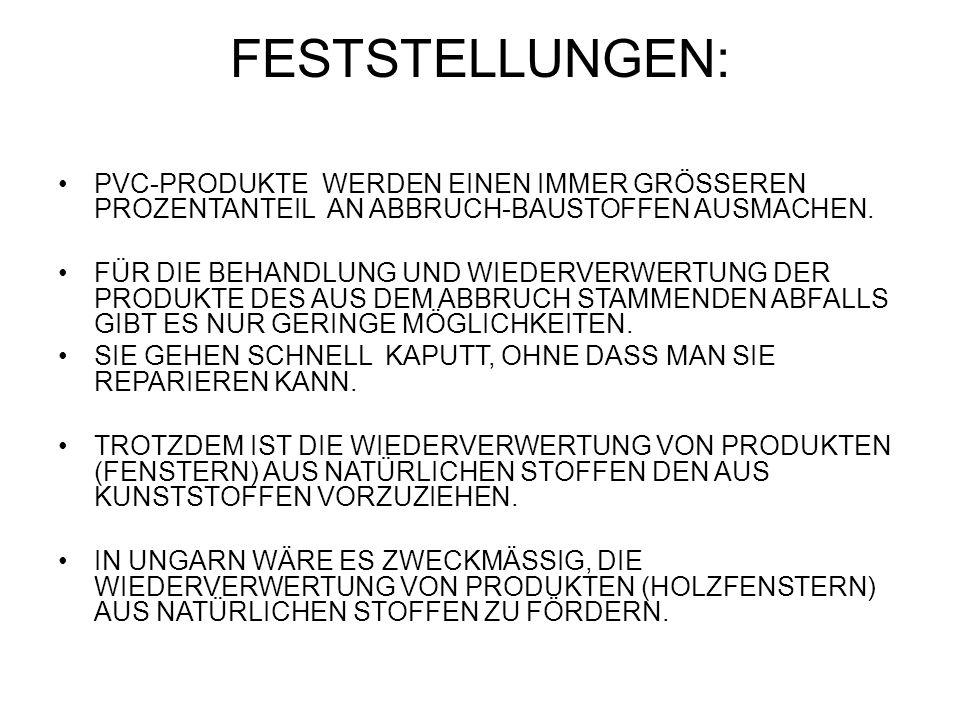 FESTSTELLUNGEN: PVC-PRODUKTE WERDEN EINEN IMMER GRÖSSEREN PROZENTANTEIL AN ABBRUCH-BAUSTOFFEN AUSMACHEN.