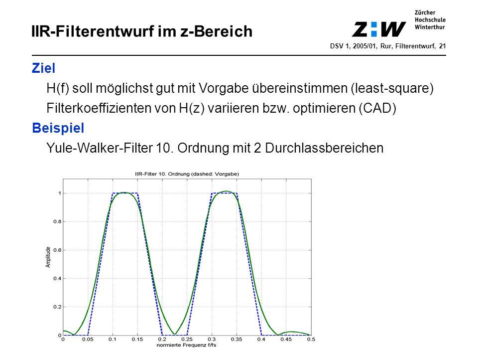IIR-Filterentwurf im z-Bereich