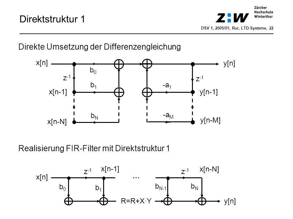 Direktstruktur 1 Direkte Umsetzung der Differenzengleichung