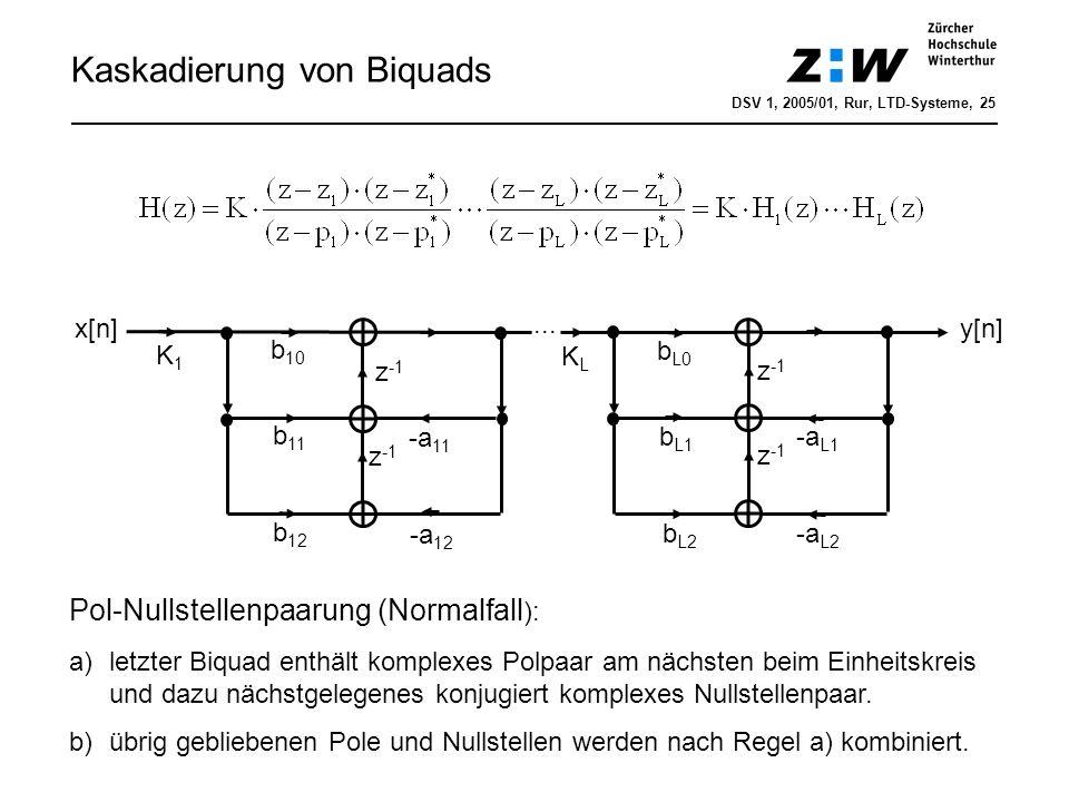 Kaskadierung von Biquads