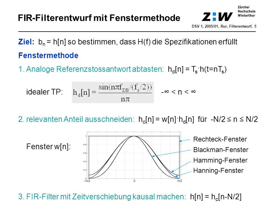 FIR-Filterentwurf mit Fenstermethode