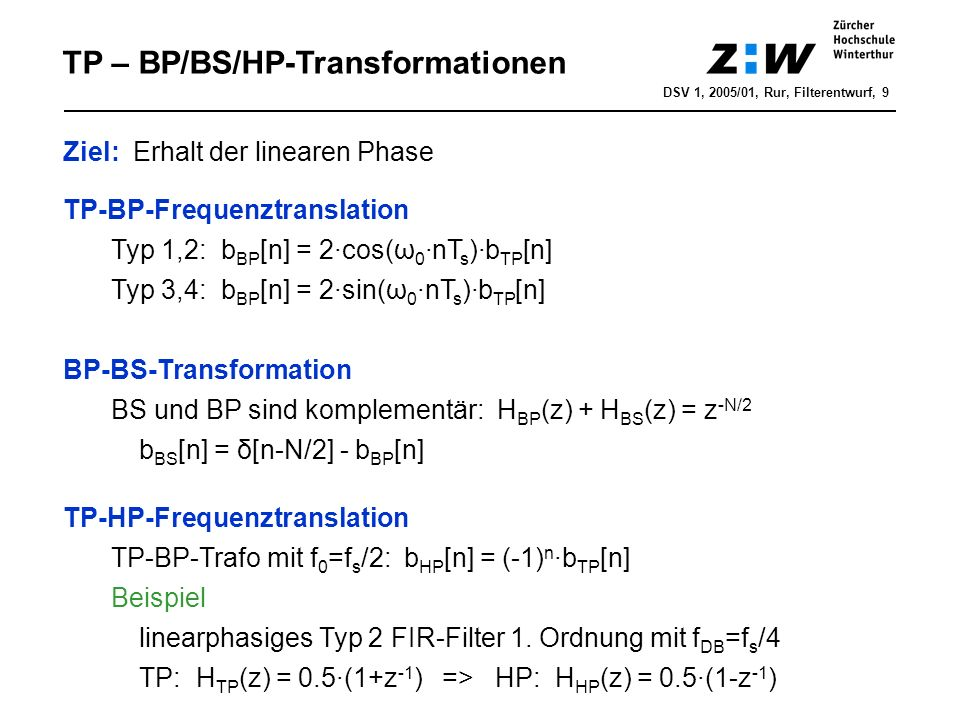TP – BP/BS/HP-Transformationen