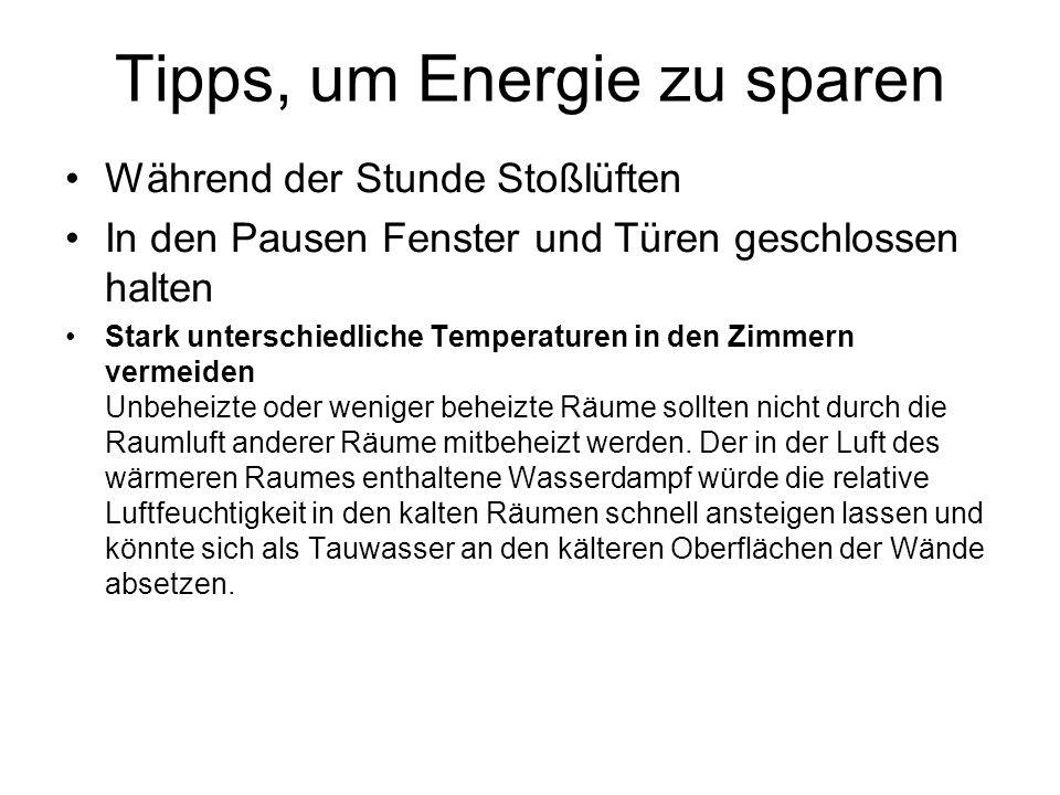 Tipps, um Energie zu sparen