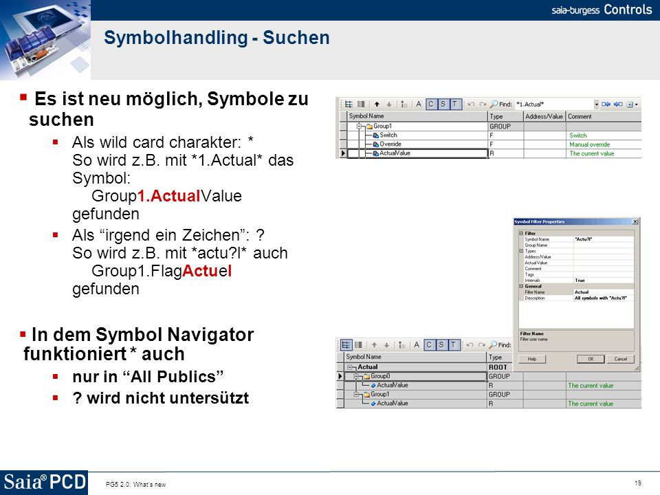 Symbolhandling - Suchen