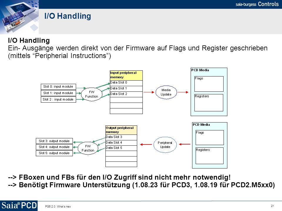 I/O Handling I/O Handling Ein- Ausgänge werden direkt von der Firmware auf Flags und Register geschrieben (mittels Peripherial Instructions )