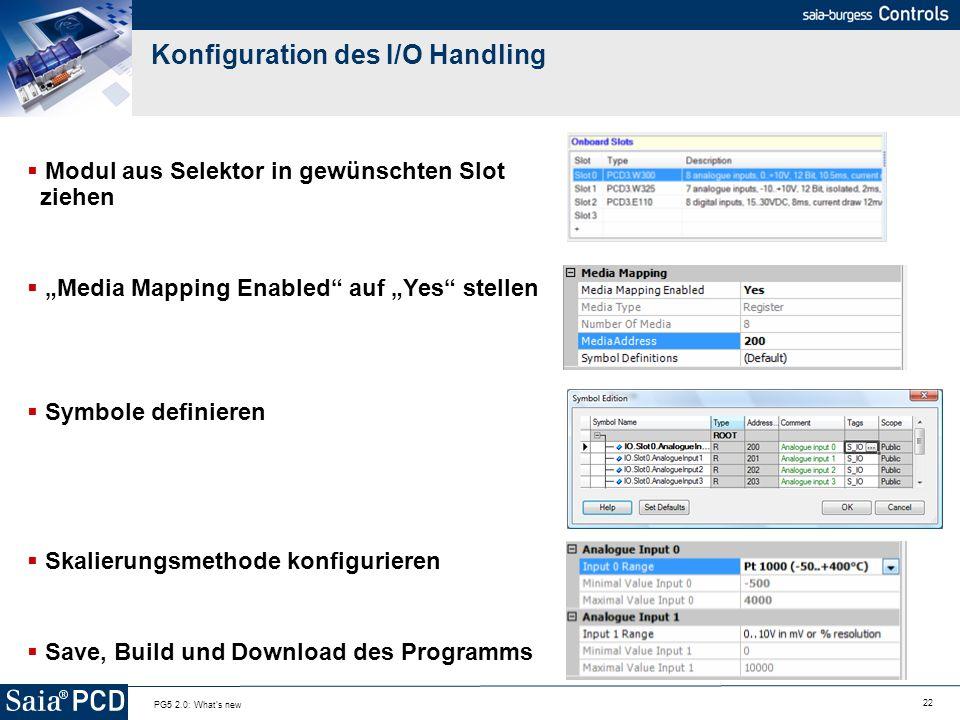 Konfiguration des I/O Handling