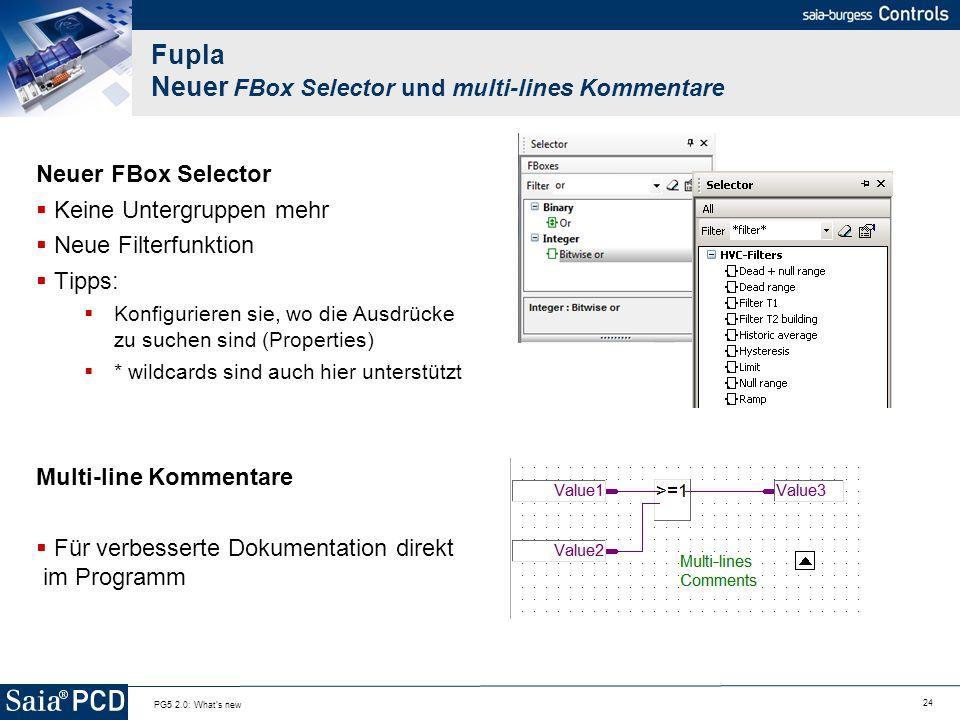 Fupla Neuer FBox Selector und multi-lines Kommentare
