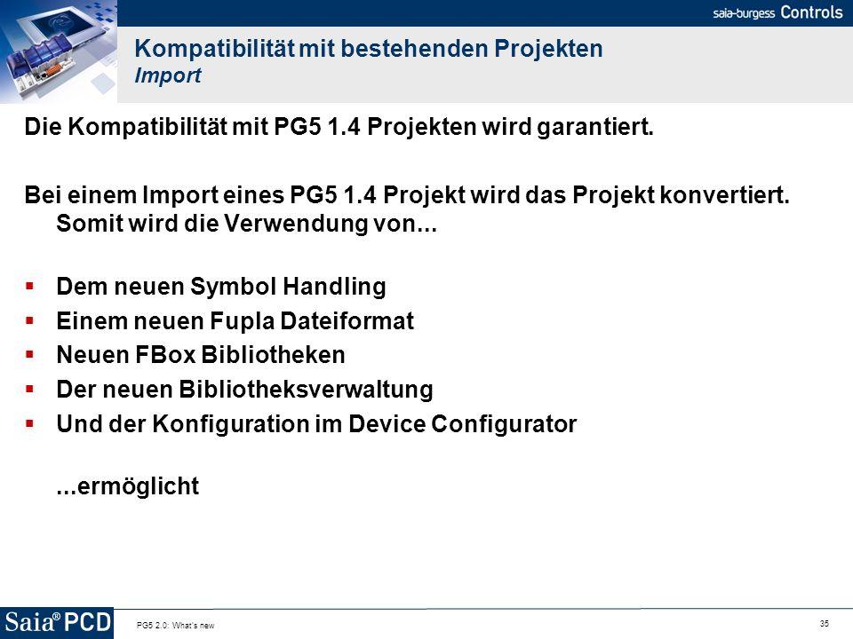Kompatibilität mit bestehenden Projekten Import
