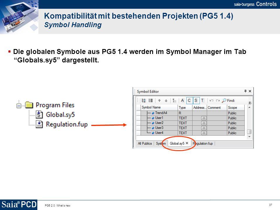 Kompatibilität mit bestehenden Projekten (PG5 1.4) Symbol Handling