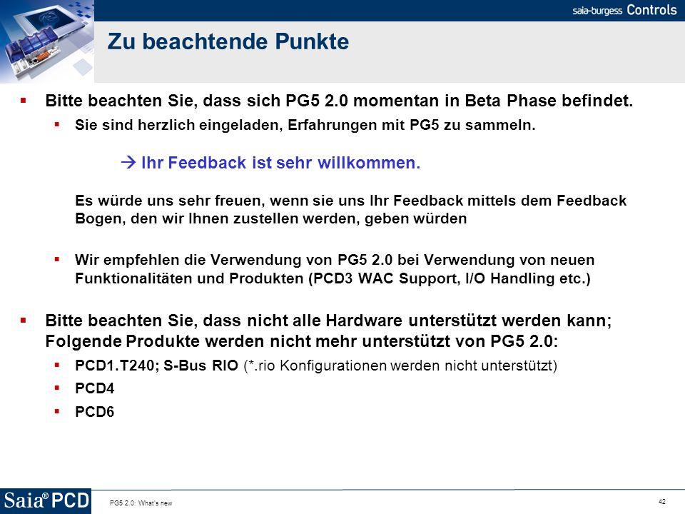 Zu beachtende PunkteBitte beachten Sie, dass sich PG5 2.0 momentan in Beta Phase befindet.