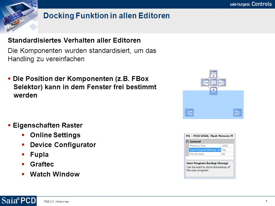 Docking Funktion in allen Editoren