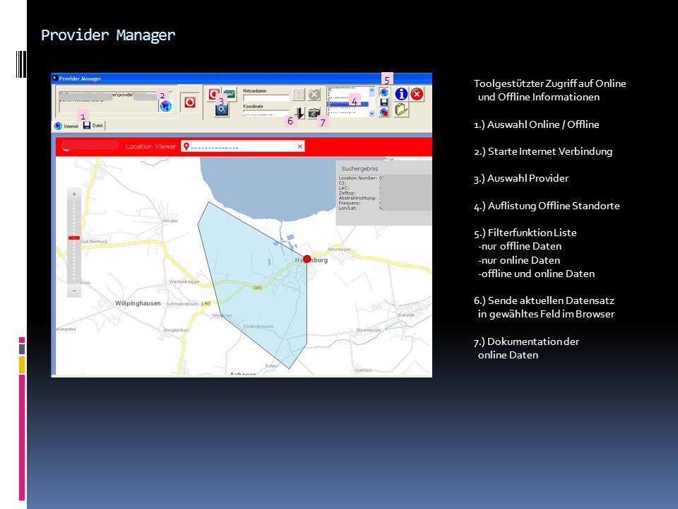 Provider Manager 5 Toolgestützter Zugriff auf Online