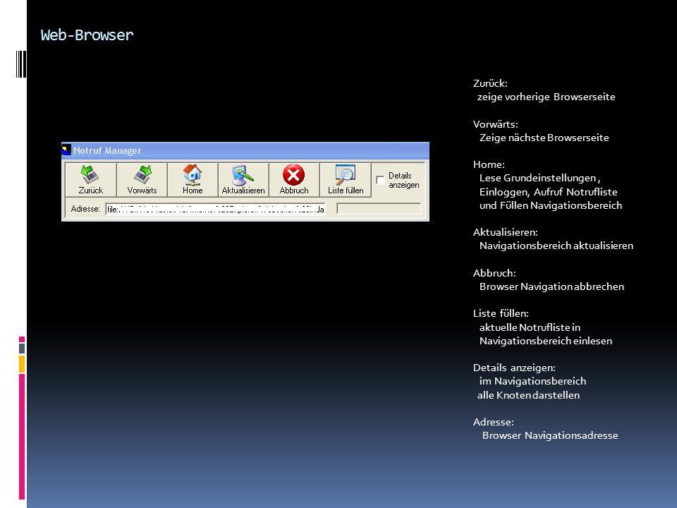 Web-Browser Zurück: zeige vorherige Browserseite Vorwärts: