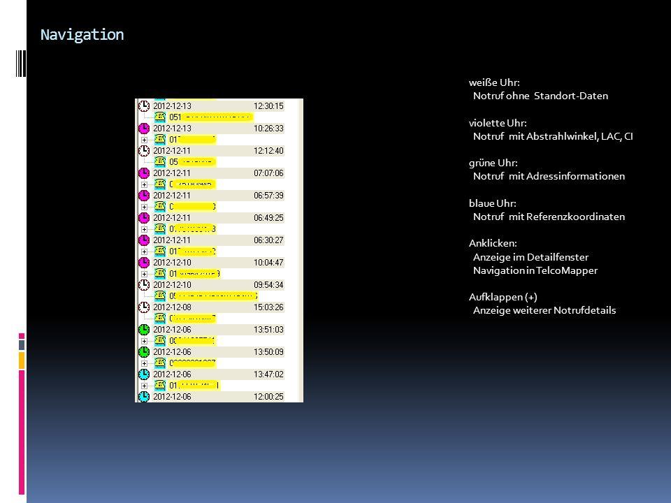 Navigation weiße Uhr: Notruf ohne Standort-Daten violette Uhr: