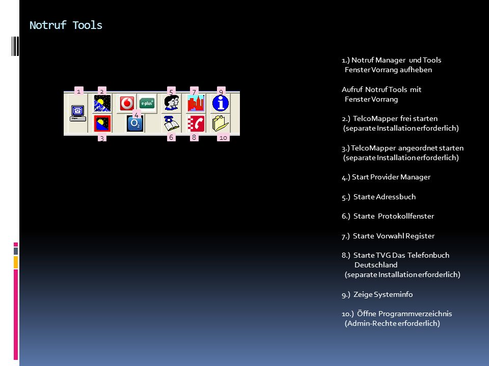 Notruf Tools 1.) Notruf Manager und Tools Fenster Vorrang aufheben