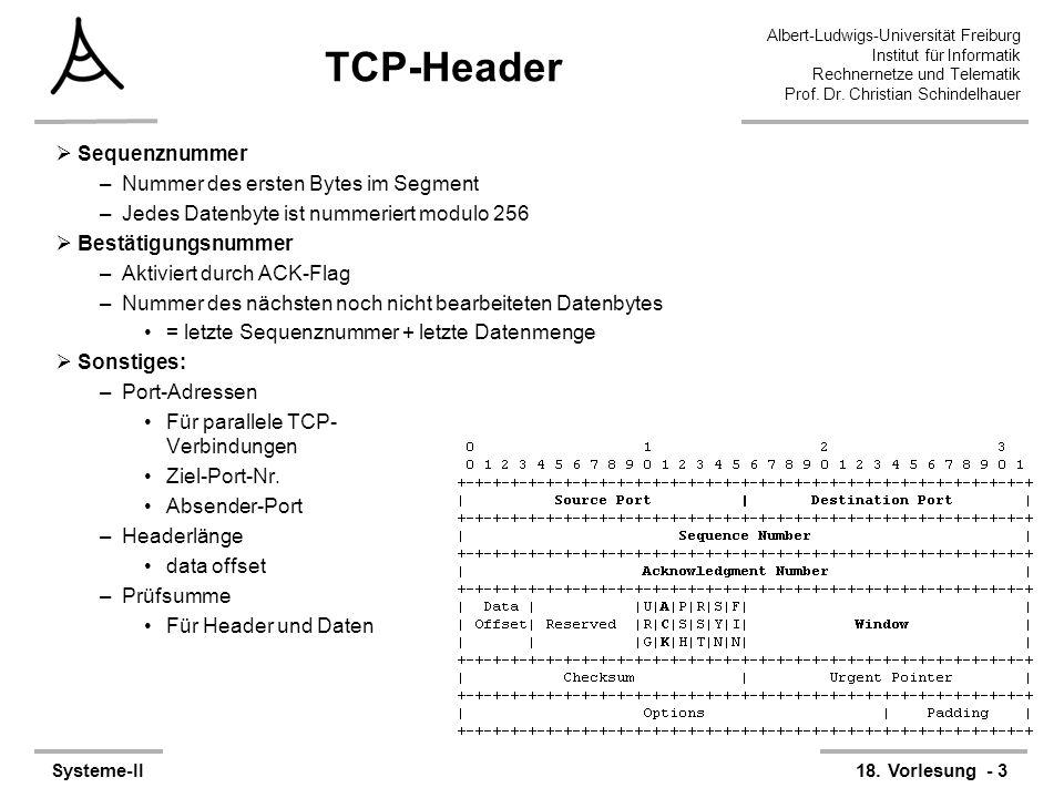 TCP-Header Sequenznummer Nummer des ersten Bytes im Segment