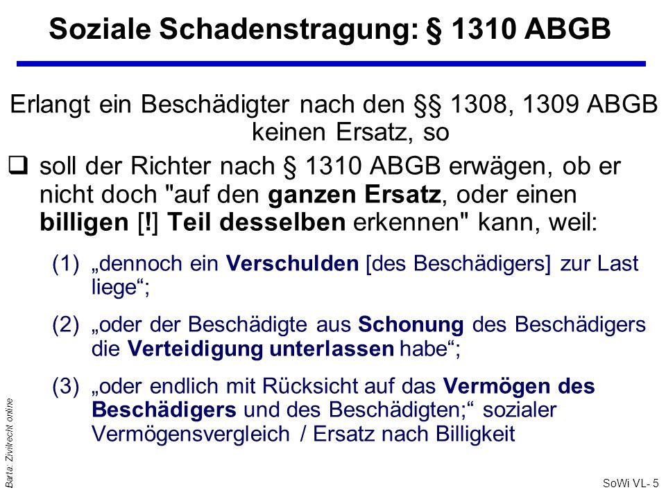 Soziale Schadenstragung: § 1310 ABGB