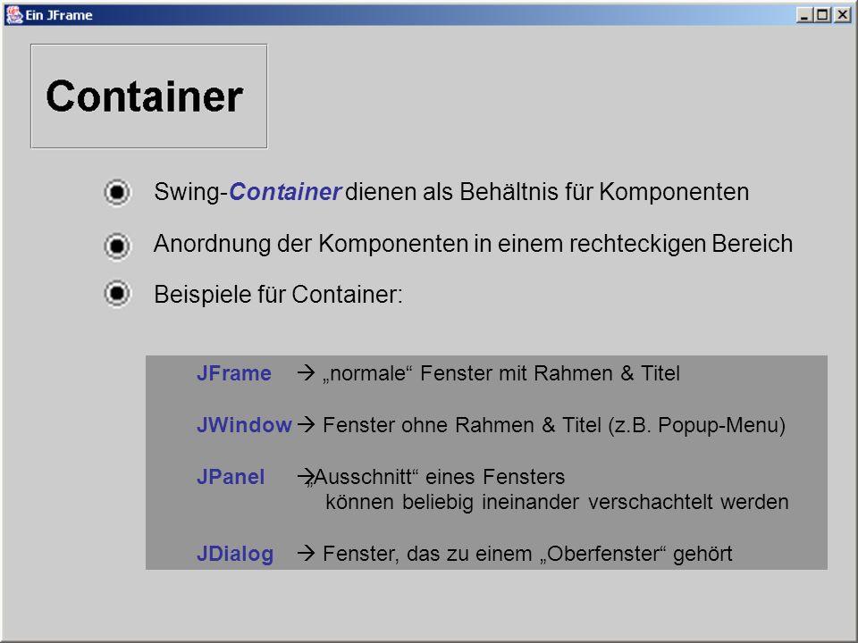Swing-Container dienen als Behältnis für Komponenten