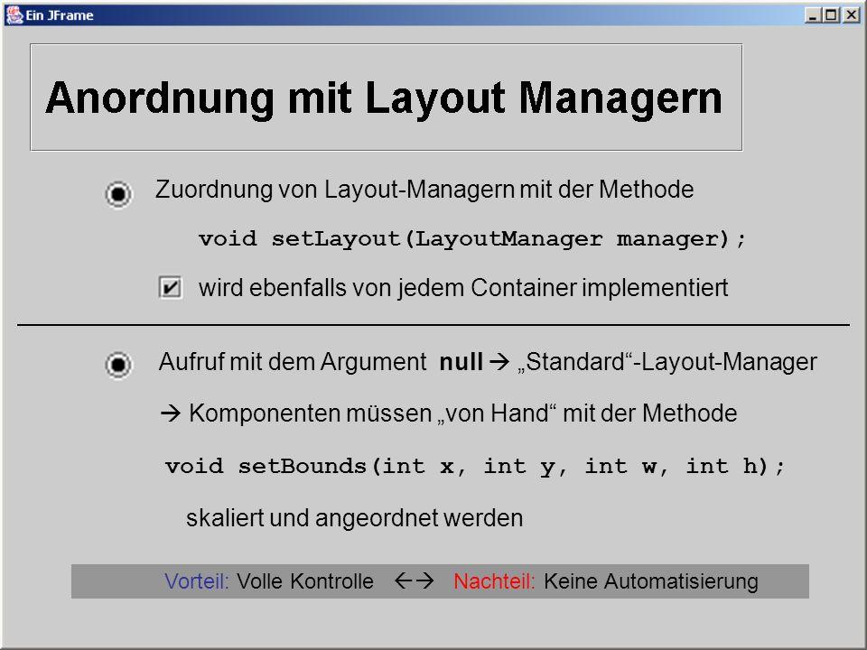 Vorteil: Volle Kontrolle  Nachteil: Keine Automatisierung