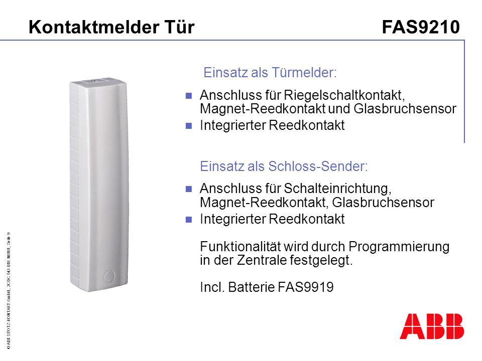 Kontaktmelder Tür FAS9210 Einsatz als Türmelder: