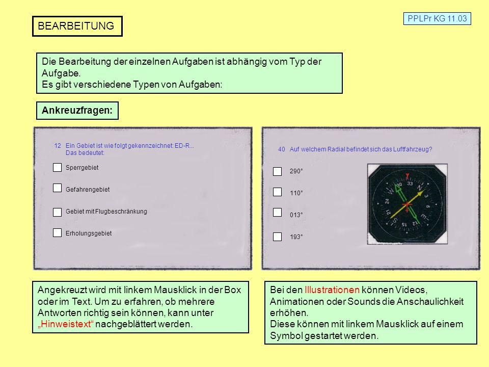 PPLPr KG 11.03 BEARBEITUNG. Die Bearbeitung der einzelnen Aufgaben ist abhängig vom Typ der. Aufgabe.