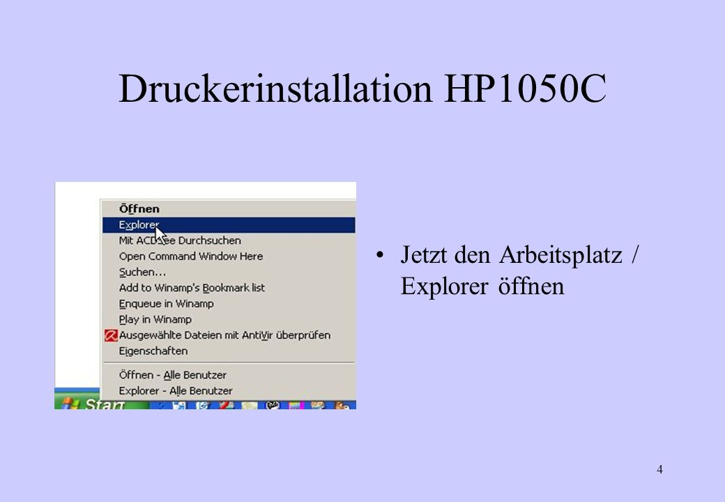 Druckerinstallation HP1050C