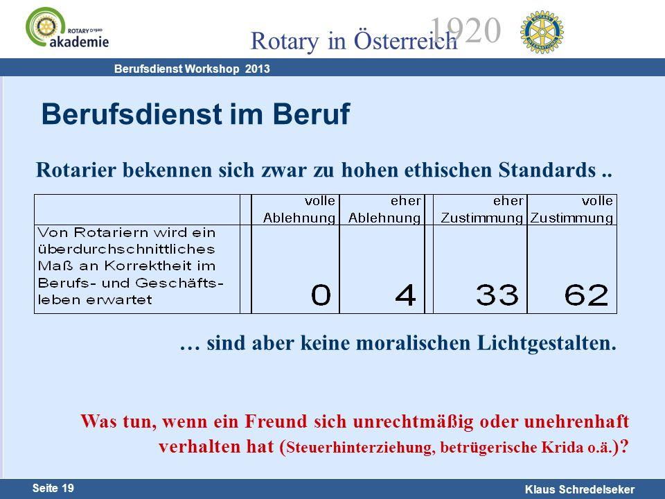 14.02.13 Berufsdienst im Beruf. Rotarier bekennen sich zwar zu hohen ethischen Standards .. … sind aber keine moralischen Lichtgestalten.