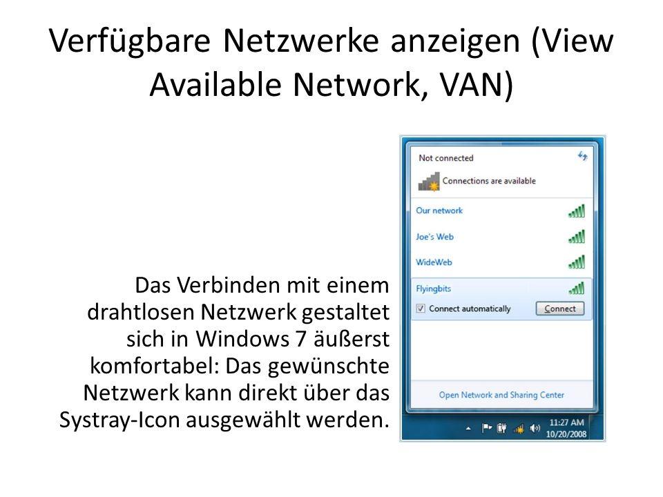 Verfügbare Netzwerke anzeigen (View Available Network, VAN)