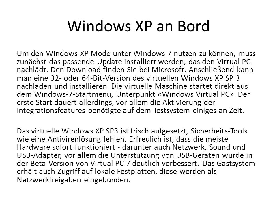 Windows XP an Bord