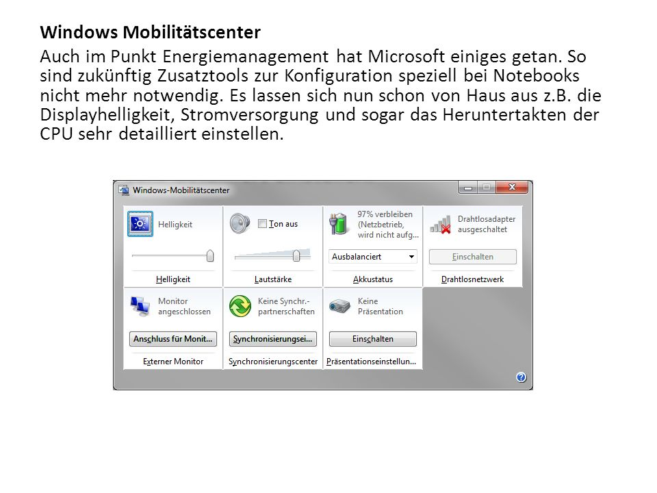 Windows Mobilitätscenter