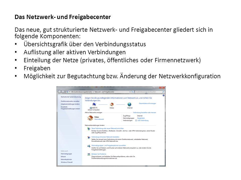 Das Netzwerk- und Freigabecenter Das neue, gut strukturierte Netzwerk- und Freigabecenter gliedert sich in folgende Komponenten: