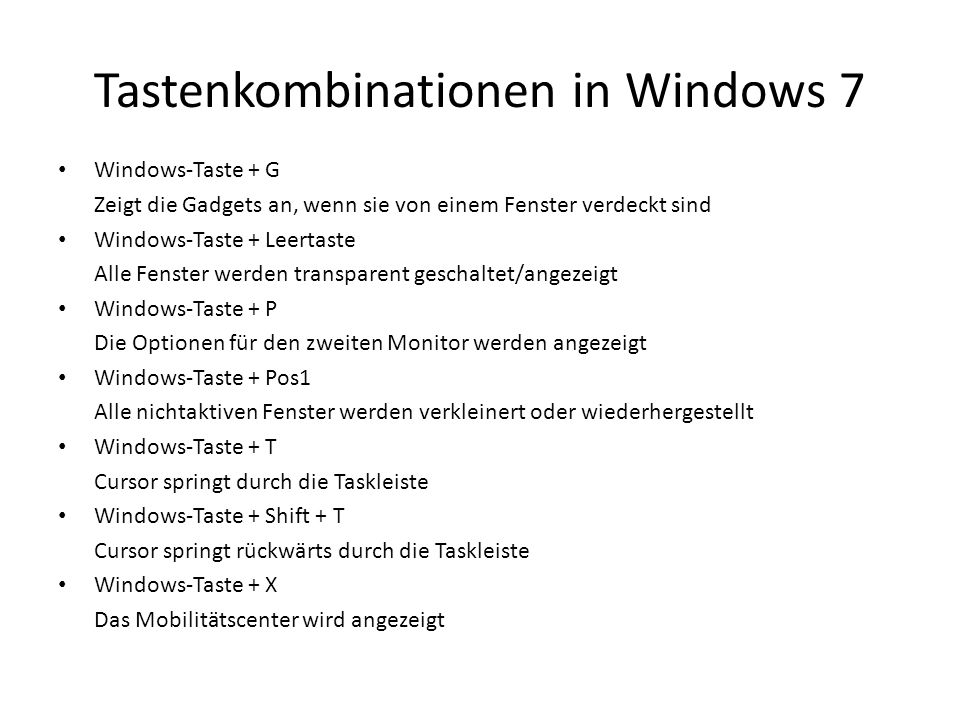 Tastenkombinationen in Windows 7