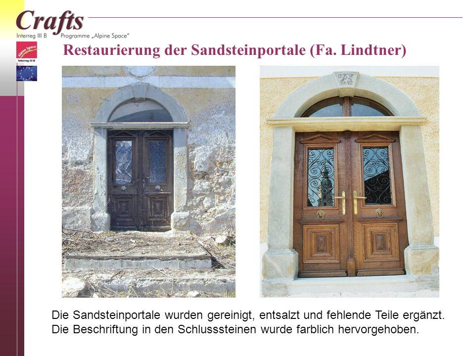Restaurierung der Sandsteinportale (Fa. Lindtner)