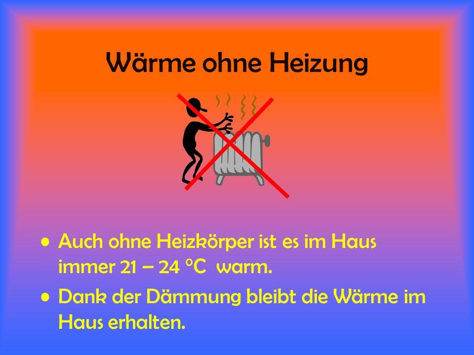 Wärme ohne Heizung Auch ohne Heizkörper ist es im Haus immer 21 – 24 °C warm.