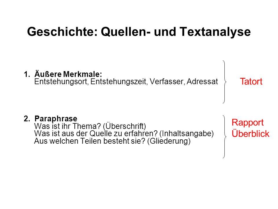 Geschichte: Quellen- und Textanalyse