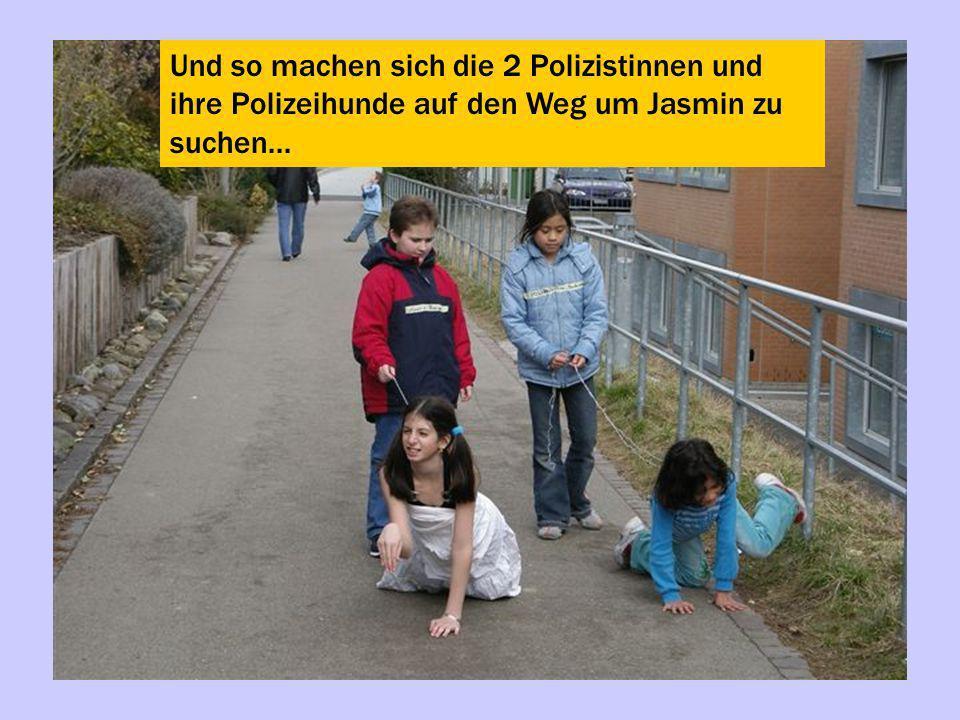 Und so machen sich die 2 Polizistinnen und ihre Polizeihunde auf den Weg um Jasmin zu suchen...