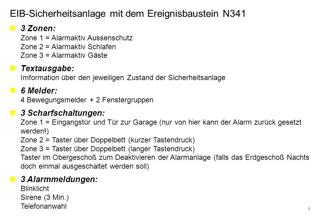 EIB-Sicherheitsanlage mit dem Ereignisbaustein N341