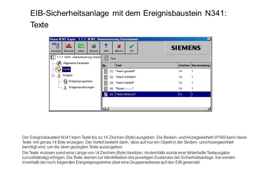 EIB-Sicherheitsanlage mit dem Ereignisbaustein N341: Texte