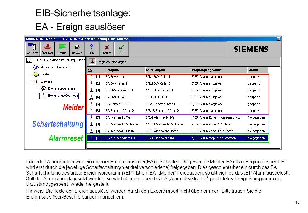 EIB-Sicherheitsanlage: EA - Ereignisauslöser