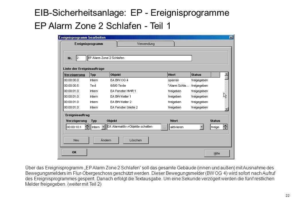 EIB-Sicherheitsanlage: EP - Ereignisprogramme