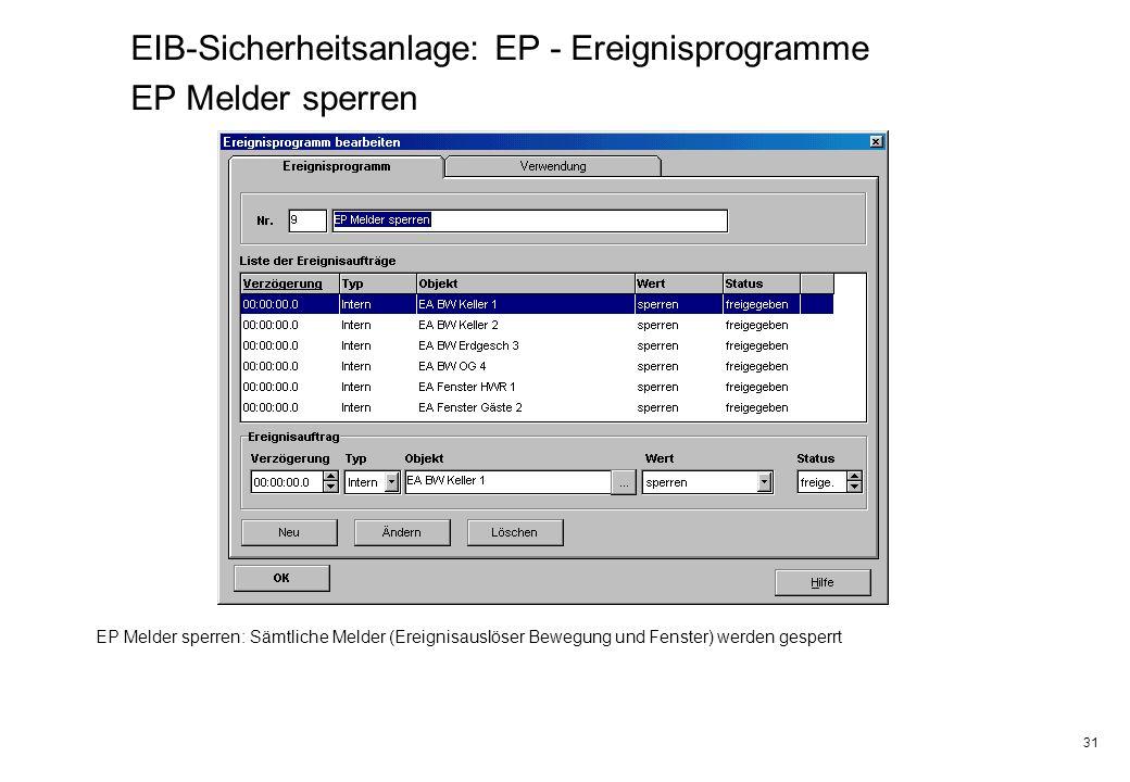 EIB-Sicherheitsanlage: EP - Ereignisprogramme EP Melder sperren