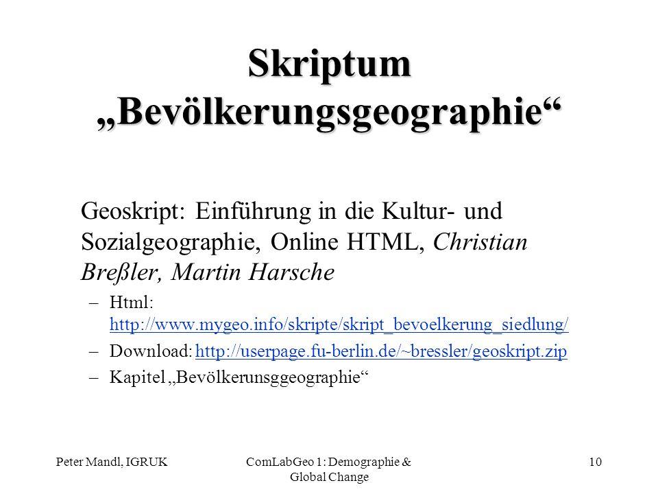 "Skriptum ""Bevölkerungsgeographie"